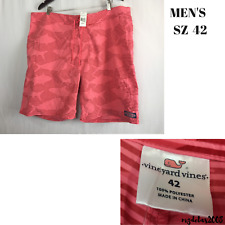Vineyard Vines Grand Slam Red Fish Striped Board Shorts Swim Trunks Size 42 New