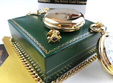 FREEMASON 24k GOLD Hunter POCKET WATCH Lapel Pin Badge Gift Set Luxury Case
