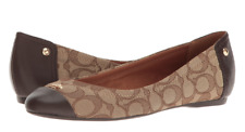 Coach Women Chelsea Khaki Chestnut Outline Sign C/calf Ballet Flats Shoes 9m