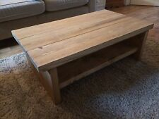 COFFEE TABLE, RUSTIC CHUNKY,HANDMADE,SOLID WOOD,WALNUT-OAK WITH SHELVES