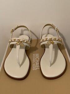 New - Women's Michael Kors Elsa Thong Nappa PU Optic White Sandals Size 10
