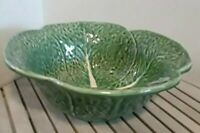 """NWT Olfaire Pottery Green Cabbage Serving  Bowl 10"""" Handcrafted in Portugal EUC"""