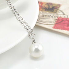 Fashion Genuine white Freshwater Pearl Pendant Necklace Silver Chain Jewelry