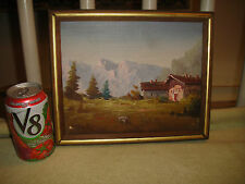 Vintage Vimax Creation Italy Miniature Oil Painting On Canvas-European Village