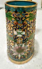 """Vintage Cloisonne Cylinder Vase or Holder approx 2"""" by 5"""" Floral on Turquoise"""