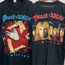 VTG 1989 Great White Twice Shy Tour Size Large T Shirt Black Original Tee Swing