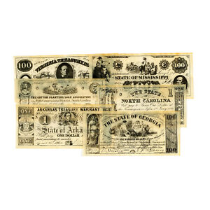 6 different  Southern states Civil War reproduction currency Set A
