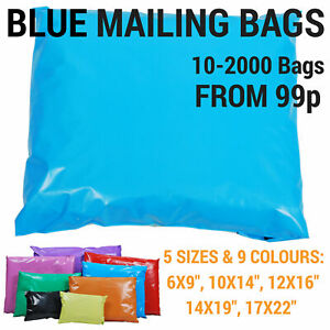 Coloured Mailing Bags Strong Polythene Postage Plastic Postal Mail Seal All Size