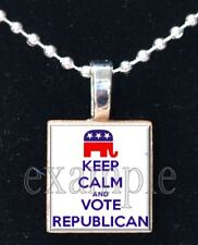Keep Calm and VOTE Republican USA America Scrabble Tile Necklace Charm Keychain