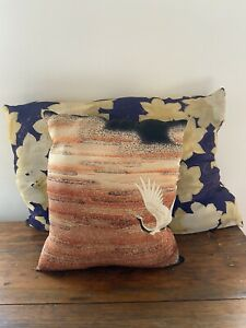 Japanese Crane Silk Pillow Hand Made