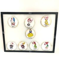 "Walt Disney Snow White Seven Dwarfs Rust Like Finish 3"" Button Pins Complete Set"