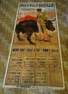 Ancienne grande affiche corrida 1944 J. REUS Plaza de Toros de SEVILLA ESPAGNE