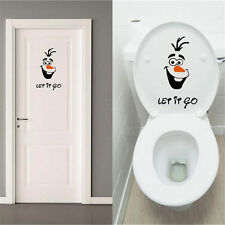 PO Olaf Frozen Disney style Let it Go Toilet Seat Wall Sticker Vinyl Decal Funny