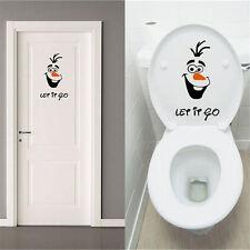 PO Olaf Frozen Disney style Let it Go Toilet Seat Wall Sticker Vinyl Decal Funny