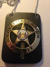 CONCEALED CARRY WEAPONS PERMIT BADGE GOLD W/Black LEATHER 2ND AMEND. CCW 9MM .45