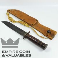 WWII USMC Kabar Fixed Blade Knife with Sheath