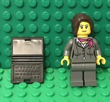 Lego City Female Girl Mini Figure with Magenta scarf and black laptop Utensil