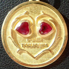 VINTAGE FRENCH ' POUR TOUJOURS ' CHARM / PENDANT, RUBIES, GOLD 18K, 4.20 GR