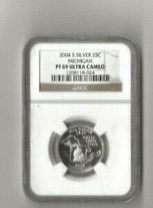 2004 s silver Michigan statehood quarter NGC PF 69 Ultra Cameo