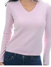 Balldiri 100% Cashmere Donna Maglione 2-fädig scollo a V sottilmente Rosa L