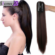 Claw Jaw Clip on Ponytail Hair piece 100% Remy Human Hair Extensions 95g-135g