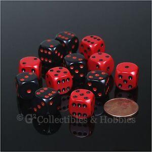 NEW 12 ROUNDED EDGE 12mm Dice Set - 6 Black & 6 Red RPG MTG WARHAMMER Game D6
