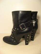 MARC JACOBS Black Leather Buckle Studded Ankle Boots size 38 or 8