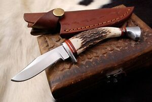 Custom HANDMADE D2 STEEL HUNTING Fix Blade Knife W/ Stag Antler Handle + Sheath