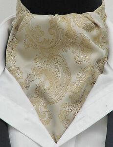 Mens Light Tan & Gold Paisley Satin Ascot Cravat & Hanky - Wedding Made in UK
