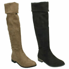 F50670 LADIES WOMENS SPOT ON FLAT KNEE HIGH ZIP UP LOW HEEL PLAIN BOOTS