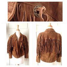 Vintage Leather Jacket Fringe Suede Western Hippie Biker Boho
