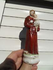 Ancienne Statue de Saint St Antoine et  jesus religion porcelaine biscuit