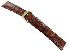 19mm Kreisler Bamboo Alligator Grain Tan Brown Leather Watch Band Strap Regular