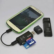 Black USB 2.0+Micro USB Ports OTG SD/TF/MS/M2 Card Reader for Samsung HTC PC