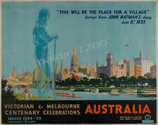 "AUSTRALIA HIGH QUALITY RETRO VINTAGE ""MELBOURNE CENTENARY"" TRAVEL POSTER PRINT"