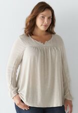 Sonoma Goods for Life Plus Size 1X Ivory Long Sleeve Top Blouse NWT