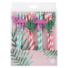 20x Paper Drinking Straws Glitter Flamingos & Cactus Striped Party BBQ Summer ..