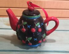 Mary Engelbreit Miniature Tea Pot Collection Ornament Black Red Cherries & Blue