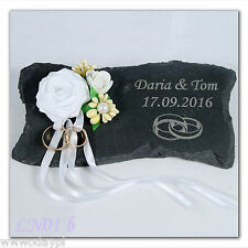 ~ Personalised wedding ring cushion made of SLATE engraved NAMES any text ~