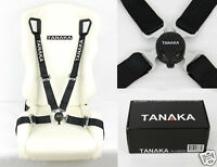 """TANAKA BLACK 4 POINT CAMLOCK QUICK RELEASE RACING SEAT BELT HARNESS 2"""""""