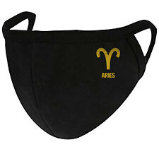 Aries Gold Foil Horoscope - Face Mask Cover Fashion 2 Layers + Pocket