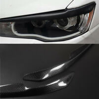 Carbon Fiber Eyelids Eyebrow Lid Headlight Molding Trim For Mitsubishi Lancer-ex