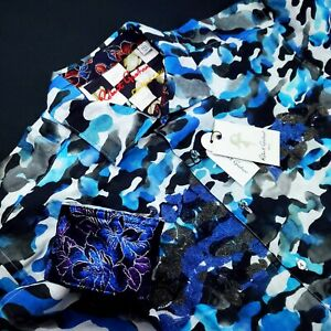 Robert Graham LIMITED EDITION $399 Embroidered Floral Camo BLUE SKIES Shirt