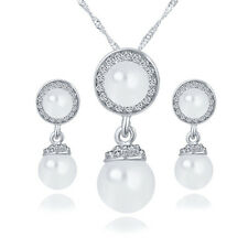 Round White Pearls Silver Bride Wedding Jewellery Set Necklace Earrings S942