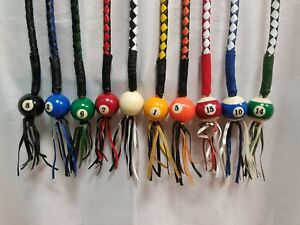 "Get Back Whip With Pool Ball 42"" Long x 2"" Multiple Colors Stainless Steel Clamp"