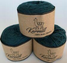 Alpaca Wool Skeins 100% Baby Alpaca Yarn Lot of 3 Teal Color 6I003