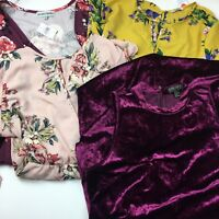 Lot of four 2x-3x Plus Size Dresses Forever 21 Iris Brand Floral Crushed Velvet