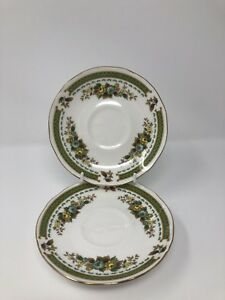 x 2 Duchess Bone China 'Dovedale' Spare Saucers (for Tea Cup) 1st Quality