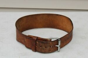 """VTG GOLDS GYM Belt Weightlifting Support Double Buckle Medium Brown Leather 4"""""""