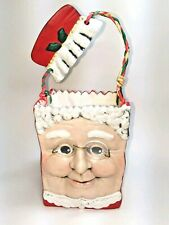 Christmas mrs. Claus with glasses seramic mold basket planter HANDPAINTED